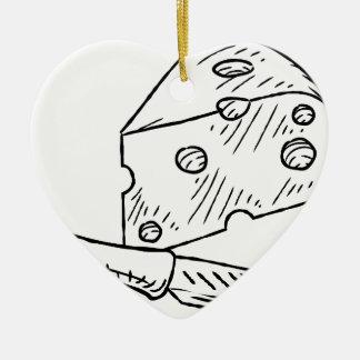 Käse-und Messer-Vintage Retro Holzschnitt-Art Keramik Herz-Ornament