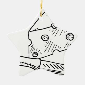 Käse-und Messer-Vintage Retro Holzschnitt-Art Keramik Stern-Ornament