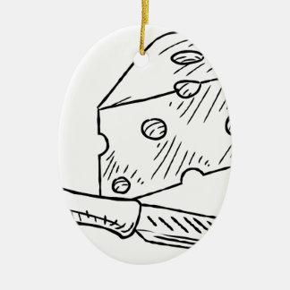 Käse-und Messer-Vintage Retro Holzschnitt-Art Ovales Keramik Ornament