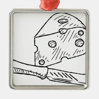 Käse-und Messer-Vintage Retro Holzschnitt-Art Quadratisches Silberfarbenes Ornament
