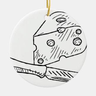 Käse-und Messer-Vintage Retro Holzschnitt-Art Rundes Keramik Ornament