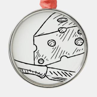 Käse-und Messer-Vintage Retro Holzschnitt-Art Rundes Silberfarbenes Ornament