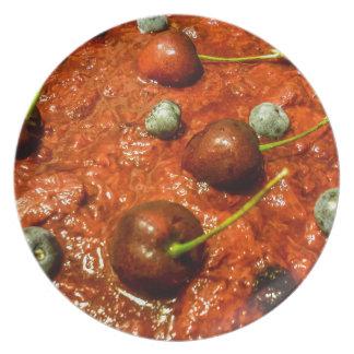 Käsekuchen-Detail-Foto Melaminteller