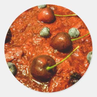 Käsekuchen-Detail-Foto Runder Aufkleber