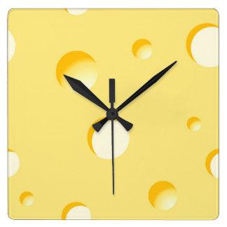 Käsescheibeillustration Quadratische Wanduhr