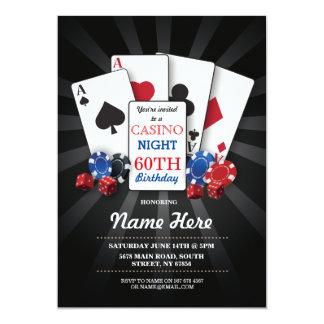Kasino-Nachtlas- vegasgeburtstags-Einladungs-Party 12,7 X 17,8 Cm Einladungskarte