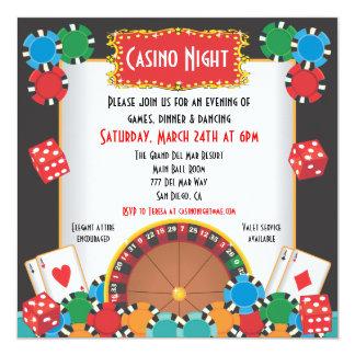 Kasino-NachtParty-Ereignis-Einladung Quadratische 13,3 Cm Einladungskarte