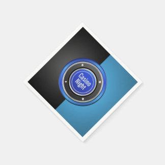 Kasino-Nachtschwarzer und blauer Poker-Chip Serviette
