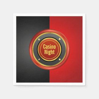 Kasino-Nachtschwarzer und roter Poker-Chip Serviette