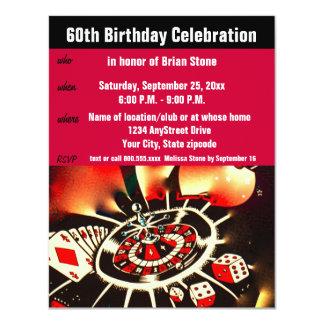 Kasino-Thema-60. Geburtstags-Feier 10,8 X 14 Cm Einladungskarte