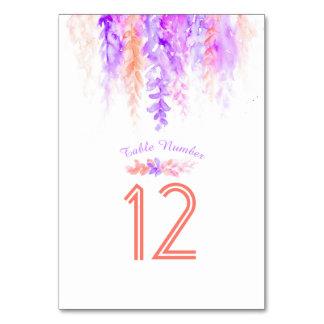 Kaskadierende lila orange Watercolor-Tischnummern Karte