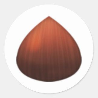 Kastanie - Emoji Runder Aufkleber