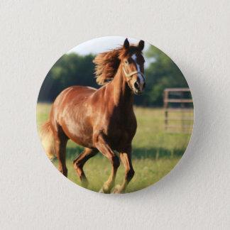 Kastanien-galoppierender Pferdeknopf Runder Button 5,1 Cm