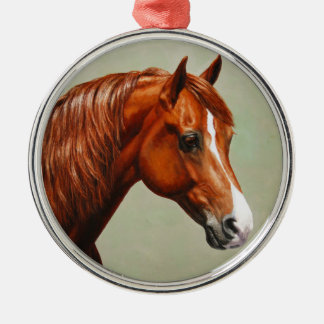 Kastanien-Morgan-Pferd Silbernes Ornament