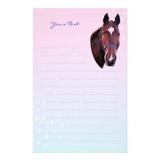 Kastanien-Pferd mit weißem Stern-Schreibpapier Briefpapier