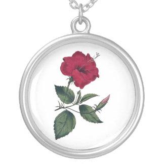Kastanienbraune botanische Hibiskus-Blüte Versilberte Kette