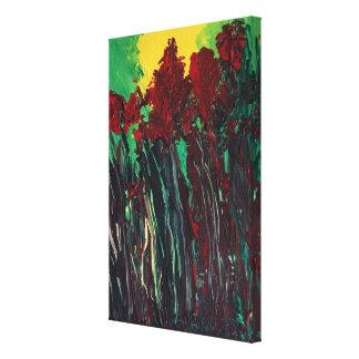 Kastanienbraune und rote Blumen-Acrylmalerei Leinwanddruck
