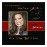 Kastanienbraune und schwarze Abschluss-Foto-Mittei Personalisierte Einladungskarte