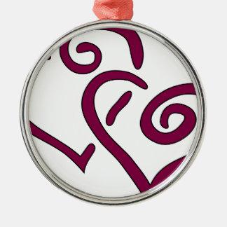Kastanienbraunes doppeltes Herz Silbernes Ornament