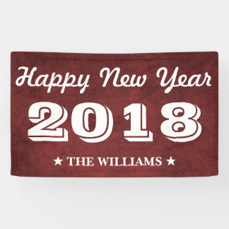Kastanienbraunes rotes guten Rutsch ins Neue Jahr Banner