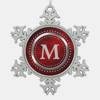 Kastanienbraunes rotes schneeflocken Zinn-Ornament