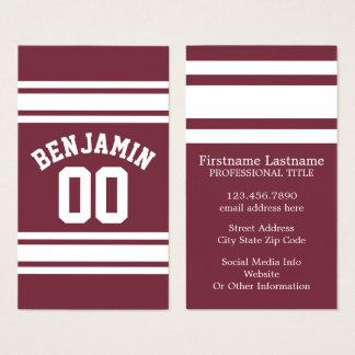 Kastanienbraunes und weißes Jersey Stripes Visitenkarte