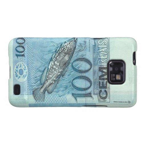 Kasten 100 Brasilianer Reais Banknoten-Samsung-Gal Galaxy SII Cover
