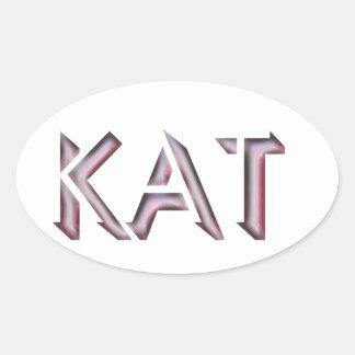 Kat-Aufklebername Ovaler Aufkleber