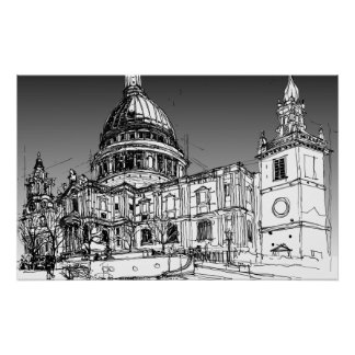 Kathedrale St. Pauls, London. Grauer Himmel Poster