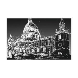 Kathedrale St. Pauls, London. Nächtlicher Himmel Leinwanddruck