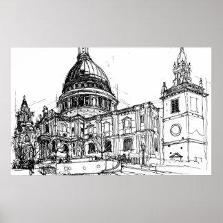 Kathedrale St. Pauls, London. Skizze Poster