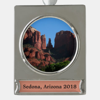 Kathedralen-Felsen in Sedona Arizona Banner-Ornament Silber