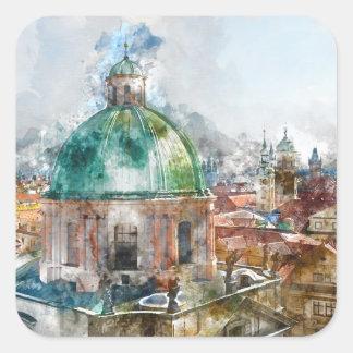 Kathedralen-Haube in Tschechischer Republik Prags Quadratischer Aufkleber