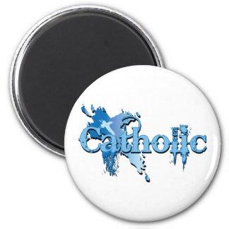 Katholisches gotisches Kreuz Runder Magnet 5,7 Cm