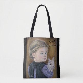 Katie mit einer Häschen-amischen Themed Tasche