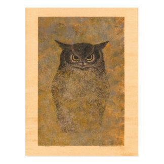 Katsuda Yukio Eulen-Japaner Woodblock Postkarte