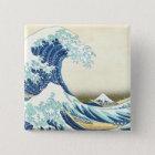 Katsushika große Welle weg von Kanagawa-Knopf Quadratischer Button 5,1 Cm