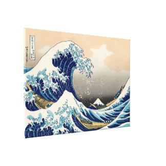 KATSUSHIKA HOKUSAI - Die große Welle weg von Leinwanddruck