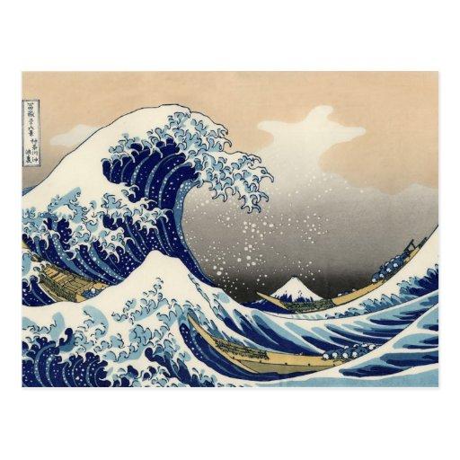 Katsushika Hokusai, große Wellen-Postkarten