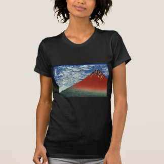 Katsushika Hokusais rotes Fuji T-Shirt