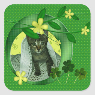 Kätzchen, Blumen, Kleeblätter u. grüne Quadratischer Aufkleber