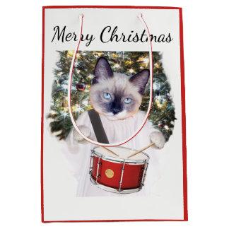Kätzchen-Carol-Feiertags-mittlere Geschenk-Tasche Mittlere Geschenktüte