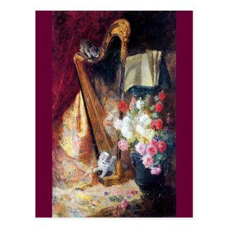 Kätzchen, die Harfen-Musikmalerei spielen Postkarten