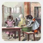 Kätzchen, die ihre Handschuhe waschen Quadratischer Aufkleber