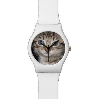 Kätzchen-helle Augen, Damen-weiße Uhr