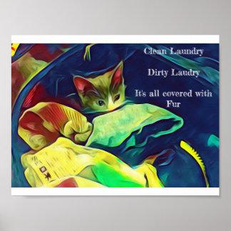 Kätzchen-Hilfen bei der Wäscherei Poster