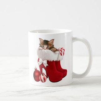 Kätzchen in den Weihnachtsschuhen Kaffeetasse
