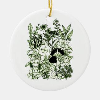 Kätzchen in den Wildblumen Keramik Ornament