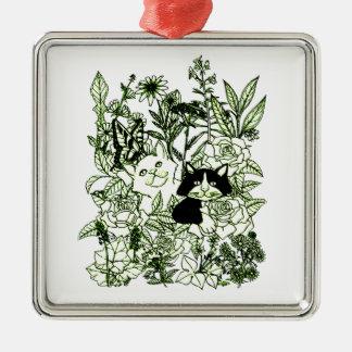 Kätzchen in den Wildblumen Silbernes Ornament