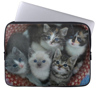 Kätzchen in einem Korb Laptop Sleeve